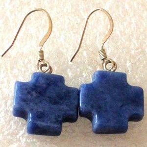 Sodalite silver cross dangle earrings